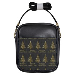 Merry Christmas Tree Typography Black And Gold Festive Girls Sling Bags by yoursparklingshop