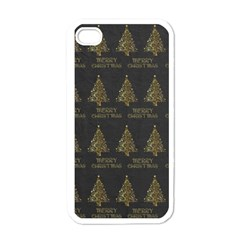 Merry Christmas Tree Typography Black And Gold Festive Apple Iphone 4 Case (white) by yoursparklingshop