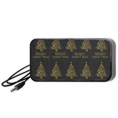 Merry Christmas Tree Typography Black And Gold Festive Portable Speaker (black)  by yoursparklingshop