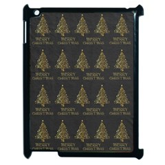 Merry Christmas Tree Typography Black And Gold Festive Apple Ipad 2 Case (black) by yoursparklingshop