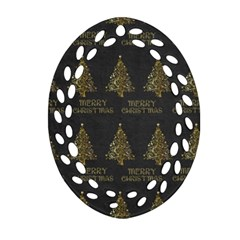Merry Christmas Tree Typography Black And Gold Festive Oval Filigree Ornament (2 Side)  by yoursparklingshop