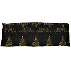 Merry Christmas Tree Typography Black And Gold Festive Body Pillow Case (dakimakura) by yoursparklingshop