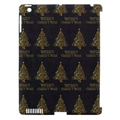 Merry Christmas Tree Typography Black And Gold Festive Apple Ipad 3/4 Hardshell Case (compatible With Smart Cover) by yoursparklingshop