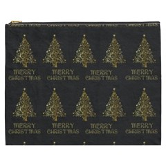 Merry Christmas Tree Typography Black And Gold Festive Cosmetic Bag (xxxl)  by yoursparklingshop
