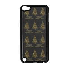 Merry Christmas Tree Typography Black And Gold Festive Apple Ipod Touch 5 Case (black) by yoursparklingshop