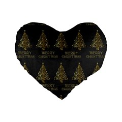 Merry Christmas Tree Typography Black And Gold Festive Standard 16  Premium Heart Shape Cushions by yoursparklingshop