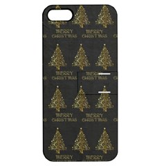 Merry Christmas Tree Typography Black And Gold Festive Apple Iphone 5 Hardshell Case With Stand by yoursparklingshop