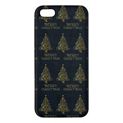 Merry Christmas Tree Typography Black And Gold Festive Apple Iphone 5 Premium Hardshell Case by yoursparklingshop