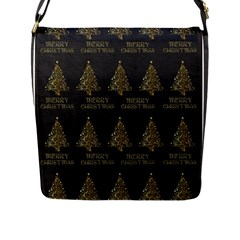 Merry Christmas Tree Typography Black And Gold Festive Flap Messenger Bag (l)  by yoursparklingshop