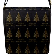 Merry Christmas Tree Typography Black And Gold Festive Flap Messenger Bag (s) by yoursparklingshop