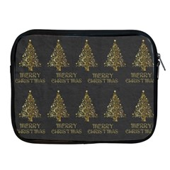 Merry Christmas Tree Typography Black And Gold Festive Apple Ipad 2/3/4 Zipper Cases by yoursparklingshop