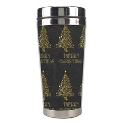Merry Christmas Tree Typography Black And Gold Festive Stainless Steel Travel Tumblers by yoursparklingshop
