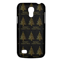Merry Christmas Tree Typography Black And Gold Festive Galaxy S4 Mini by yoursparklingshop