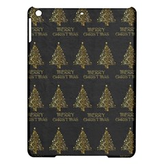 Merry Christmas Tree Typography Black And Gold Festive Ipad Air Hardshell Cases by yoursparklingshop