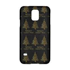 Merry Christmas Tree Typography Black And Gold Festive Samsung Galaxy S5 Hardshell Case  by yoursparklingshop