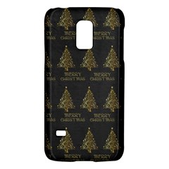 Merry Christmas Tree Typography Black And Gold Festive Galaxy S5 Mini by yoursparklingshop