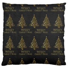 Merry Christmas Tree Typography Black And Gold Festive Standard Flano Cushion Case (two Sides) by yoursparklingshop