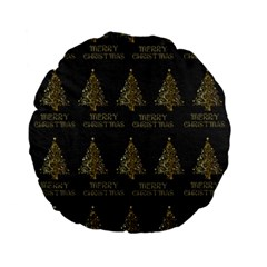 Merry Christmas Tree Typography Black And Gold Festive Standard 15  Premium Flano Round Cushions by yoursparklingshop