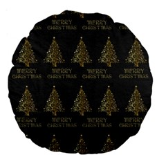 Merry Christmas Tree Typography Black And Gold Festive Large 18  Premium Flano Round Cushions by yoursparklingshop