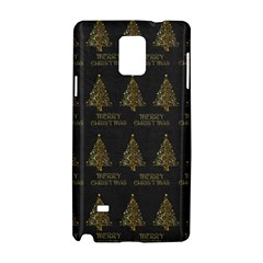Merry Christmas Tree Typography Black And Gold Festive Samsung Galaxy Note 4 Hardshell Case by yoursparklingshop