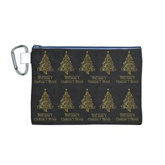 Merry Christmas Tree Typography Black And Gold Festive Canvas Cosmetic Bag (m) by yoursparklingshop