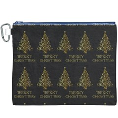 Merry Christmas Tree Typography Black And Gold Festive Canvas Cosmetic Bag (xxxl) by yoursparklingshop