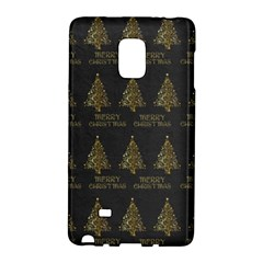 Merry Christmas Tree Typography Black And Gold Festive Galaxy Note Edge by yoursparklingshop