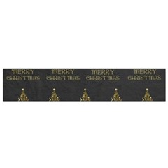 Merry Christmas Tree Typography Black And Gold Festive Flano Scarf (small) by yoursparklingshop