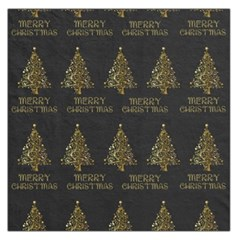 Merry Christmas Tree Typography Black And Gold Festive Large Satin Scarf (square) by yoursparklingshop