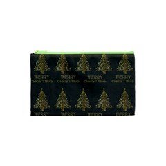 Merry Christmas Tree Typography Black And Gold Festive Cosmetic Bag (xs) by yoursparklingshop