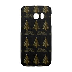 Merry Christmas Tree Typography Black And Gold Festive Galaxy S6 Edge by yoursparklingshop