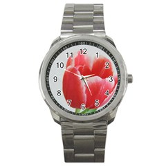 Red Tulip Watercolor Painting Sport Metal Watch by picsaspassion