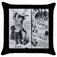 Vintage Song Sheet Lyrics Black White Typography Throw Pillow Case (black) by yoursparklingshop
