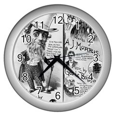 Vintage Song Sheet Lyrics Black White Typography Wall Clocks (silver)  by yoursparklingshop
