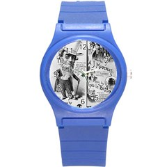 Vintage Song Sheet Lyrics Black White Typography Round Plastic Sport Watch (s) by yoursparklingshop