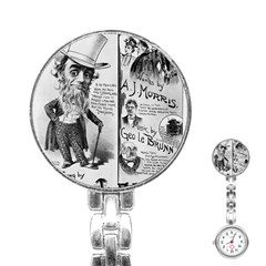 Vintage Song Sheet Lyrics Black White Typography Stainless Steel Nurses Watch by yoursparklingshop