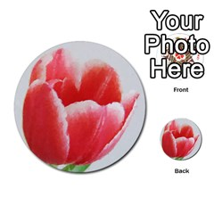 Tulip Red Watercolor Painting Multi Purpose Cards (round)  by picsaspassion