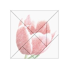Tulip red pencil drawing art Acrylic Tangram Puzzle (4  x 4 ) by picsaspassion