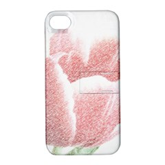 Tulip Red Pencil Drawing Art Apple Iphone 4/4s Hardshell Case With Stand by picsaspassion