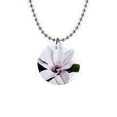 Magnolia Wit Aquarel Painting Art Button Necklaces by picsaspassion