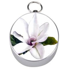 Magnolia Wit Aquarel Painting Art Silver Compasses by picsaspassion