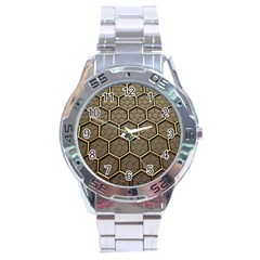 Texture Hexagon Pattern Stainless Steel Analogue Watch by Zeze