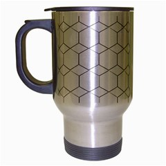 honeycomb - diamond black and white pattern Travel Mug (Silver Gray) by picsaspassion