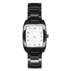 Honeycomb   Diamond Black And White Pattern Stainless Steel Barrel Watch by picsaspassion