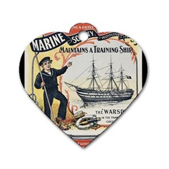 Vintage Advertisement British Navy Marine Typography Dog Tag Heart (two Sides) by yoursparklingshop