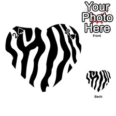 Zebra Horse Skin Pattern Black And White Playing Cards 54 (heart)  by picsaspassion