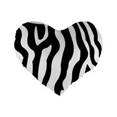 Zebra Horse Skin Pattern Black And White Standard 16  Premium Heart Shape Cushions by picsaspassion