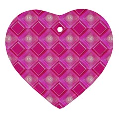 Pink Sweet Number 16 Diamonds Geometric Pattern Ornament (heart)  by yoursparklingshop