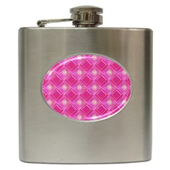 Pink Sweet Number 16 Diamonds Geometric Pattern Hip Flask (6 Oz) by yoursparklingshop