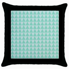 Mint Color Triangle Pattern Throw Pillow Case (black) by picsaspassion